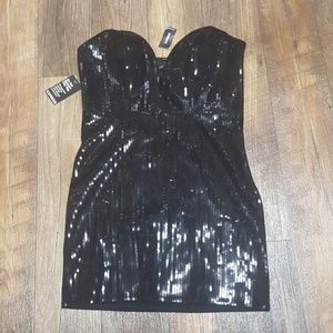 Express Sequin Little Black Dress NWT